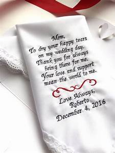 personalized weddings poem gifts handkerchief for mother With son to mother wedding gifts