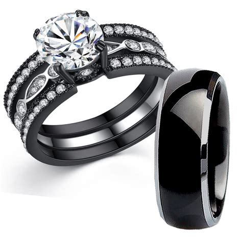 tungsten  black stainless steel bridal wedding