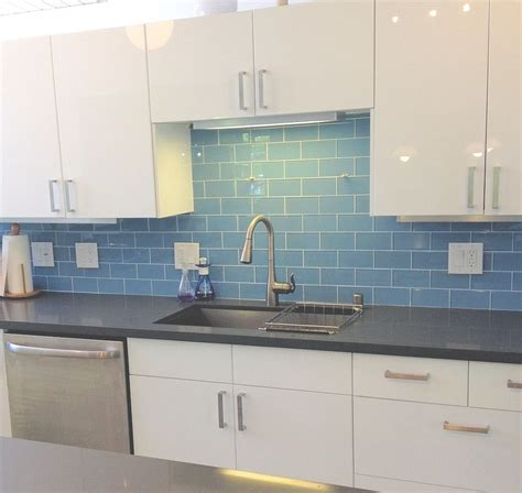Glass Backsplash Ideas For Kitchens by Sky Blue Glass Subway Tile Cing Modern Kitchen