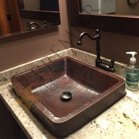 hammered copper kitchen sinks rectangle skirted vessel hammered copper sink premier 4119