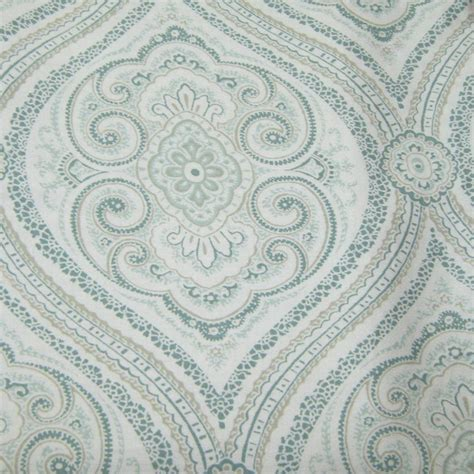 fieldcrest luxury ogee paisley blue green fabric shower