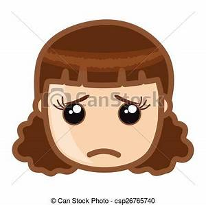 EPS Vector of Emotional Girl Face - Cartoon Sad Young Girl ...