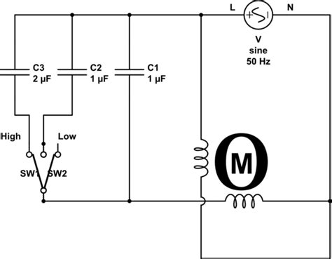 Electric Ac Wiring Diagram With Three Fan by Ac Calculating The Capacitor Values To Ceiling
