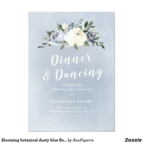 Blooming botanical dusty blue floral reception invitation
