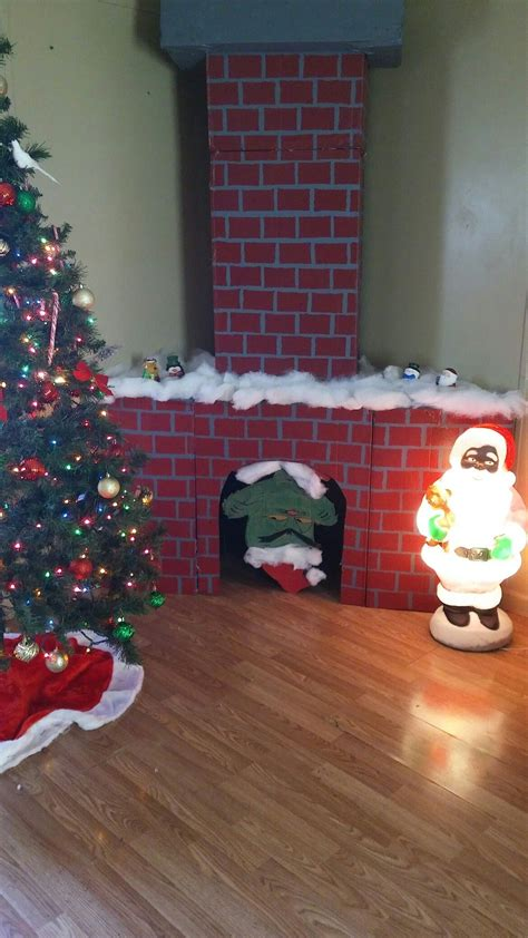 faux cardboard fireplace  chimney   grinch diy