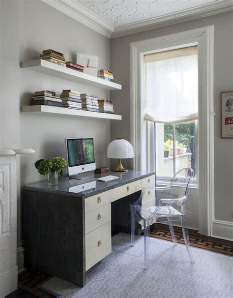 shelves above desk home office ideas transitional den library office