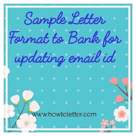 sample letter format  bank  updating email id  sb