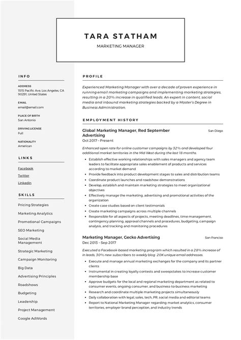marketing manager resume writing guide  templates