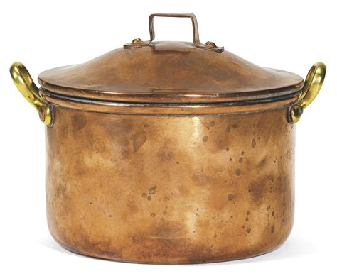 war  faberge copper cooking pot  cylindrical   brass handles  domed lid