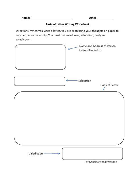 parts  letter writing worksheets englishlinxcom board