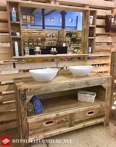 Meuble De Cuisine En Palette : meuble de salle de bain et miroir avec palettesmeuble en palette meuble en palette ~ Dode.kayakingforconservation.com Idées de Décoration