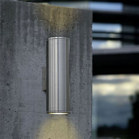 riga 6w led up down wall pillar spot light stainless steel warm whit