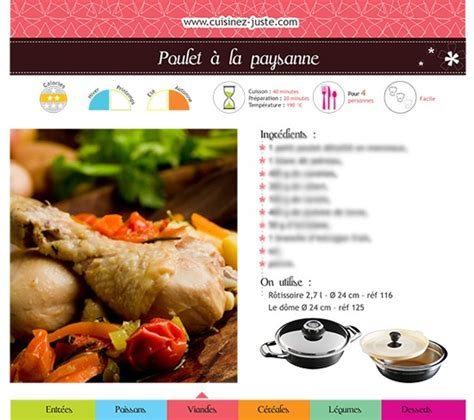 fiche recette cuisine fiche recette viande poulet à la paysanne version pdf