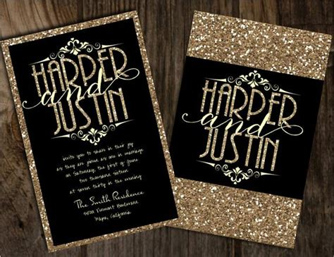 Black and gold wedding invitation black and champagne