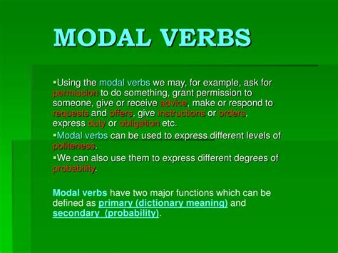 Modal verbs are a kind of auxiliary or helping verb. PPT - MODAL VERBS PowerPoint Presentation - ID:226196