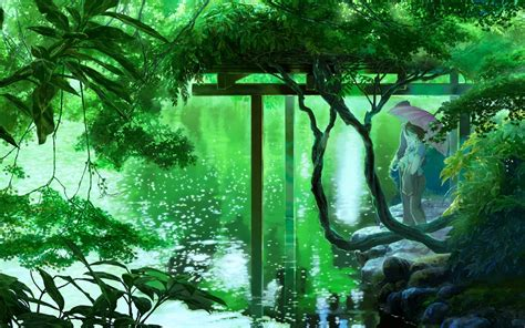 Green Anime Wallpaper - anime lake trees umbrella green wallpapers hd