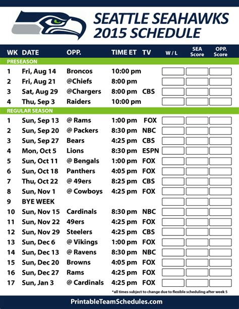 seahawks printable schedule google search