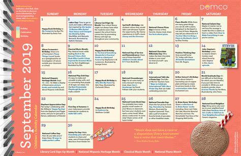 childrens activity calendar   library september