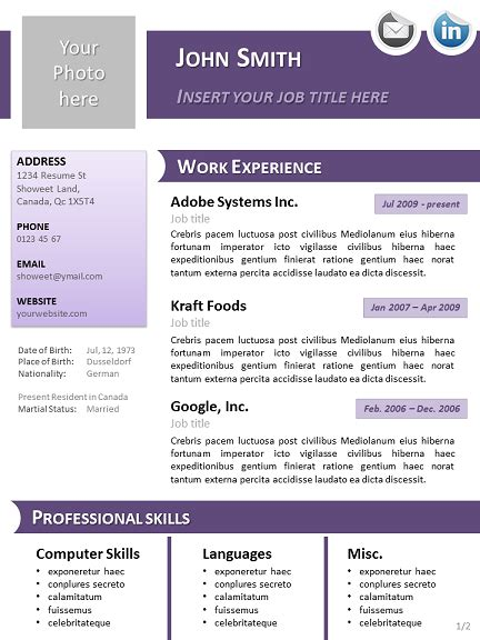 20881 powerpoint resume template purple curriculum vitae template for powerpoint