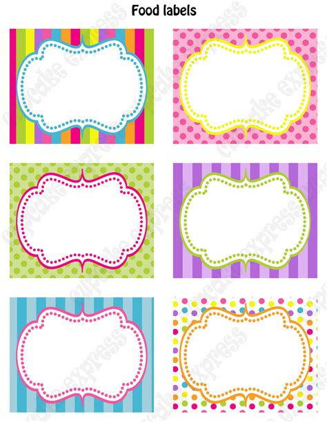 Kitchen Tea Present Ideas - editable and printable candy buffet labels just b cause