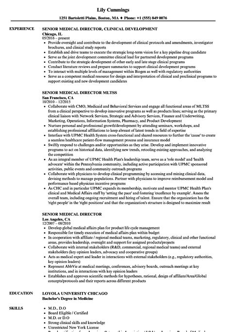 Senior Medical Director Resume Samples | Velvet Jobs