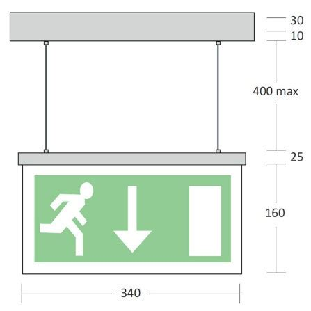 mizzen wire suspended led exit sign emergency lighting products