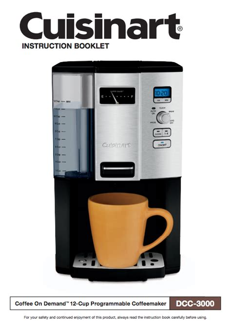 Manualslib has more than 180 cuisinart coffee maker manuals. Coffee On Demand™ 12 Cup Programmable Coffeemaker (DCC-3000) Product Manual (With images ...