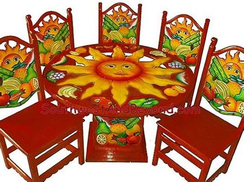 carved painted mexican table sets