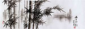 Charcoal Bamboo Landscape Drawing (with silk border) - Mr ...