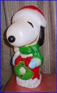 18 Lighted Wreath Vtg Peanuts Snoopy Santa S Best Christmas Lighted Wreath