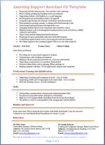 teaching assistant curriculum vitae exle learning support assistant cv exle 2
