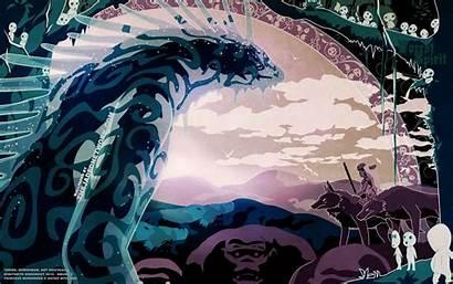 Mononoke Princess Ghibli Studio Miyazaki Spirit Vector