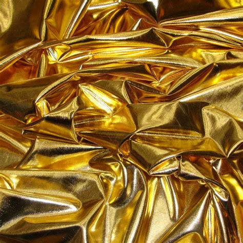 stretch foil metallic foil spandex fabric in gold stretch lycra