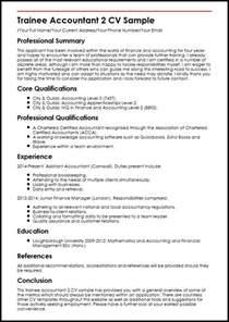 financial accountant cv exle trainee accountant 2 cv sle myperfectcv