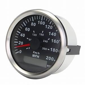 85mm Gps Speedometer Waterproof Steel Black Bezel Gauge
