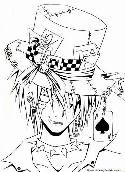 Coloring Drawing Mad Drawings Line Hatter Bunny