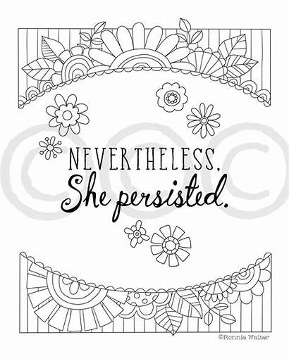She Nevertheless Persisted Inspirational Quote Printable Coloring