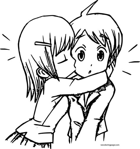 Cute Girl With Boy Anime Manga Coloring Page