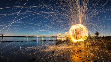 photography fireworks ocean bridge hd