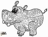 Hippo Coloring Printable Doodles sketch template