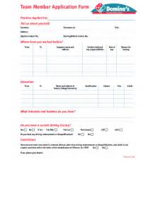 Domino S Resume Application free printable domino s application form