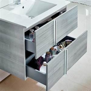 Meuble Tiroir Salle De Bain : meuble salle de bain 100 cm 2 tiroirs plan vasque verre noir onix ~ Teatrodelosmanantiales.com Idées de Décoration