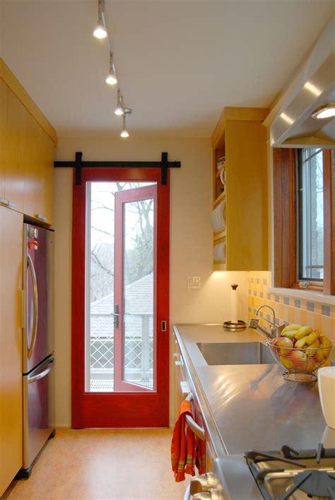 sliding screen door kitchen contemporary  beige wall