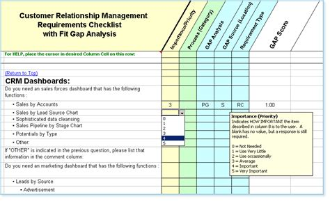 Crm Requirements Template by Crm Software Requirements Checklist With Fit Gap Analysis