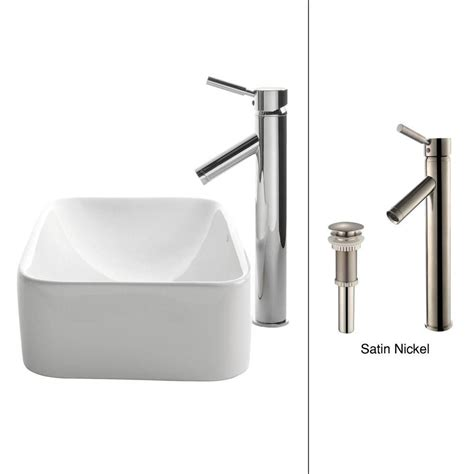 home depot white vessel sink kraus rectangular ceramic vessel sink in white with sheven