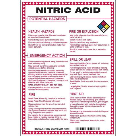 brady part 48882 nitric acid potential hazards sign bradycanada ca