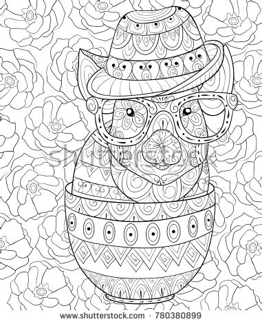 adult coloring bookpage cute pig into stock vector