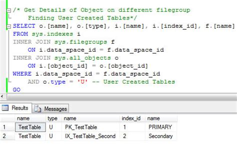 sql list all tables sql server list all objects created on all filegroups in