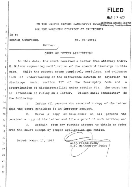 scientology  armstrong order  letter application