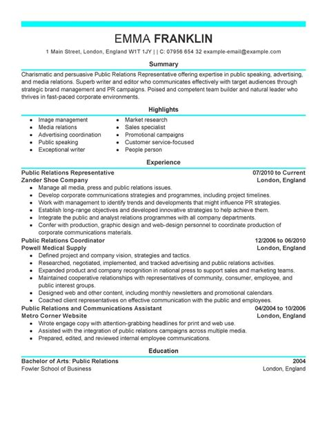 public relations sample resume public relations resume examples website resume cover letter